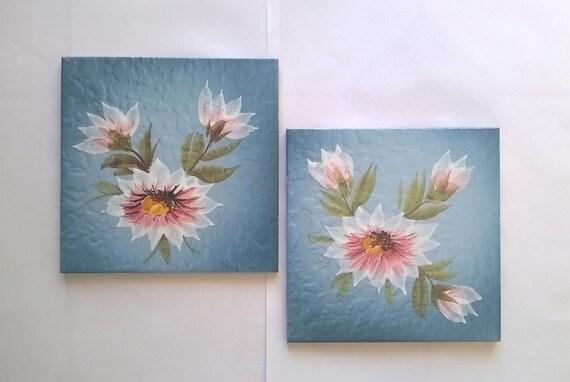 Vintage piastrelle blu con fiori mattonelle antiche etsy