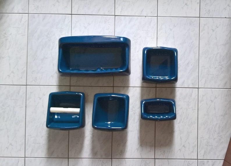 Accessori Bagno Vintage : Accessori bagno blu vintage kit bagno vintage portasapone etsy