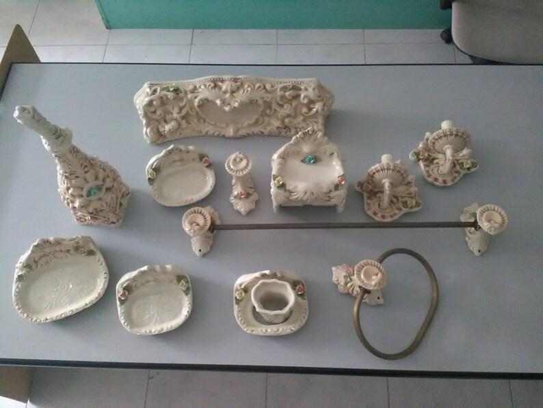 Vintage accessori per il bagno accessori per il bagno beige etsy