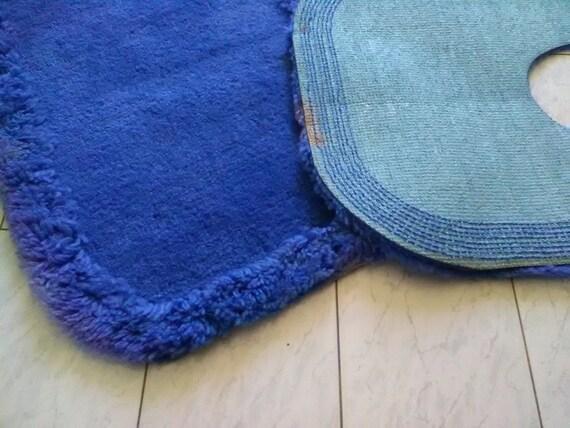 Vintage tris tappeti blu per il bagno tappetini per il bagno etsy