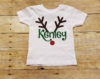 Personalized Reindeer Shirt, Rudolph Shirt, Christmas Name Shirt, Personalized Christmas Shirt, Reindeer Name Shirt, Holiday Shirt