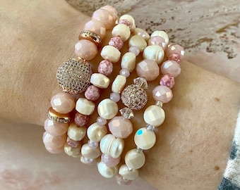 Blush bracelet with pink pearls and rose adjustable christmas gift for her xmas romantic