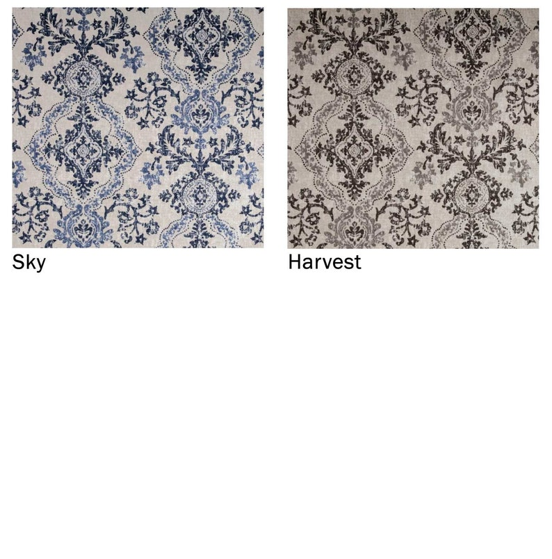 Stone Magnolia Home Fashions Avalon Navy Blue Florals Fits Single Window 33-42 Inches ONLY Shaped Rod Pocket Custom Valance Brown