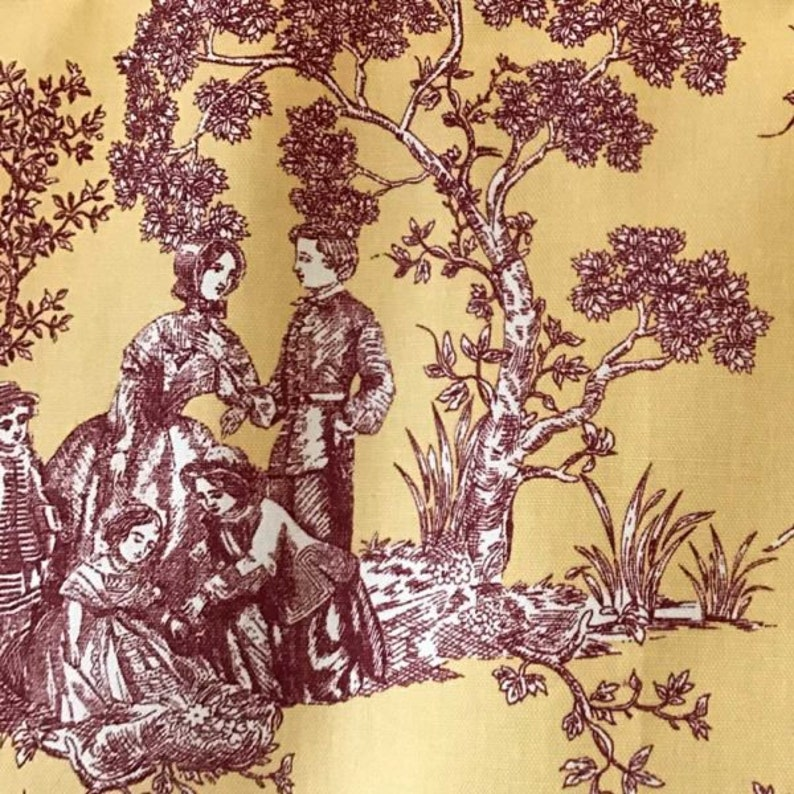 Red Toile Maize French Country Yellow Fits Single Window 34 to 43 Inches Wide Cornice Style Look with Brackets Shaped Valance Curtain