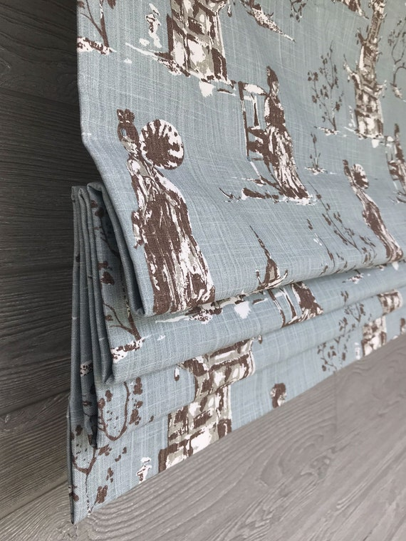 Modern Chinoiserie Soft Fold Faux Fake Flat Roman Shade Valance with Greek Key Ribbon Trim 18 to 34 Wide Premier Prints Aiko