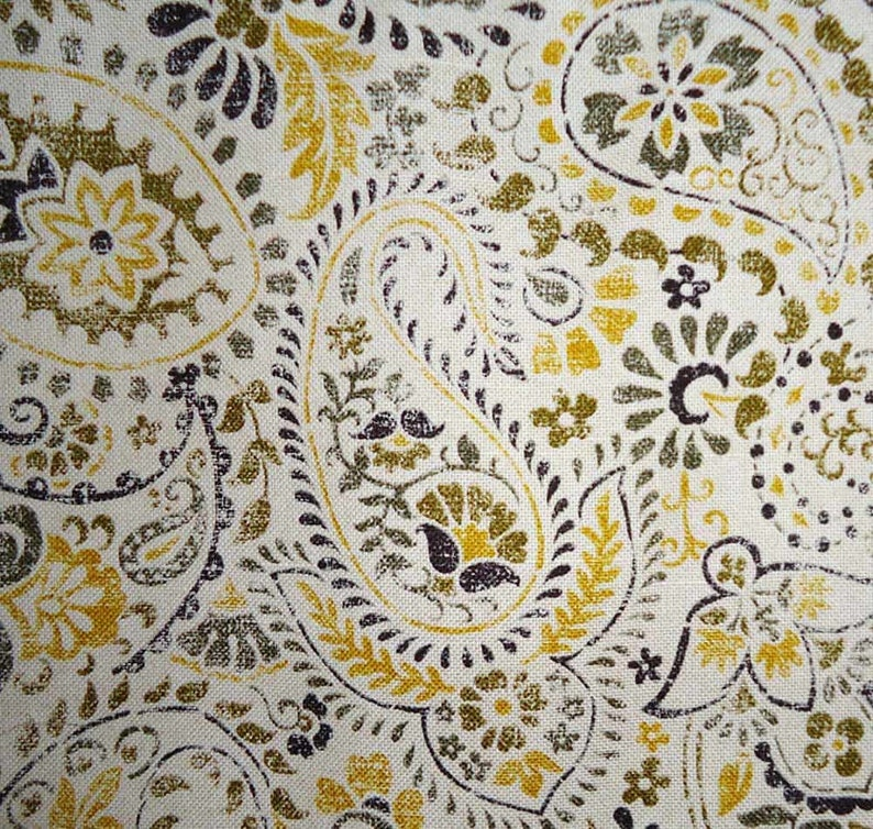 Olive Paisley Shaped Valance Curtain Cornice Style Look with Brackets Yellow Fits Single Window 34 to 43 Inches Wide Distressed Black