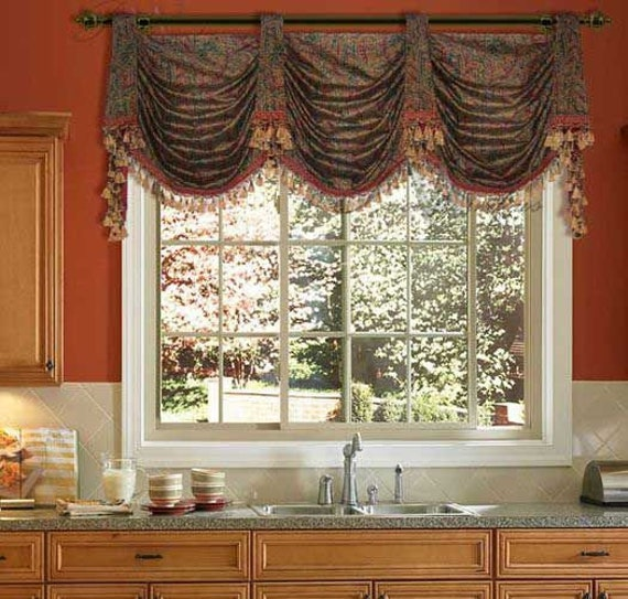 Pole Top Austrian Swag Valance Professionally Shirred Swags with Double Trumpets and Long Jabots Made with YOUR Fabric andor Fringe