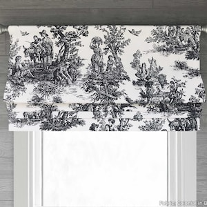 Lion Toile Chinoiserie Grey One Lined Faux Roman Shade Valance Single Fold 18L with Rod Pocket