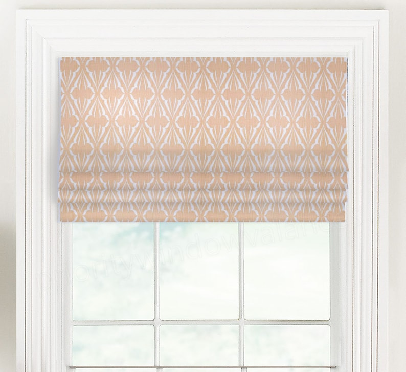 Custom Lined Faux Flat Roman Shade 34-14 to 50 Wide Blue, Green, or Salmon Pink Premier Prints Scott Living Biscay