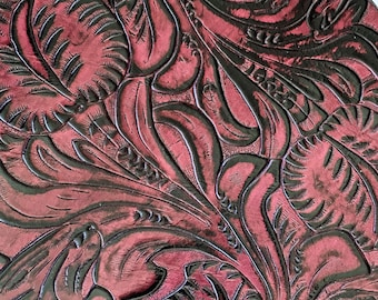 Cranberry Western Tooled Embossed Leather Pieces Sheets for Leatherworking / Leather Crafts / Leather Earrings / Leather Jewelry