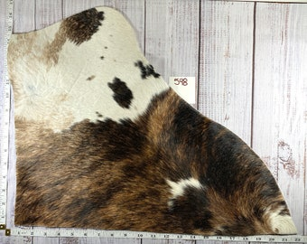 8.5x11 Brown and White Hair On Hide Cowhide Leather Sheet for Bows Jewelry and Crafts #17
