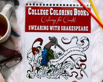 Swearing With Shakespeare   Swear Word Coloring Book   Funny Insult Coloring Book   Vintage Designs   English Lit Quotes   Book Lover Gift