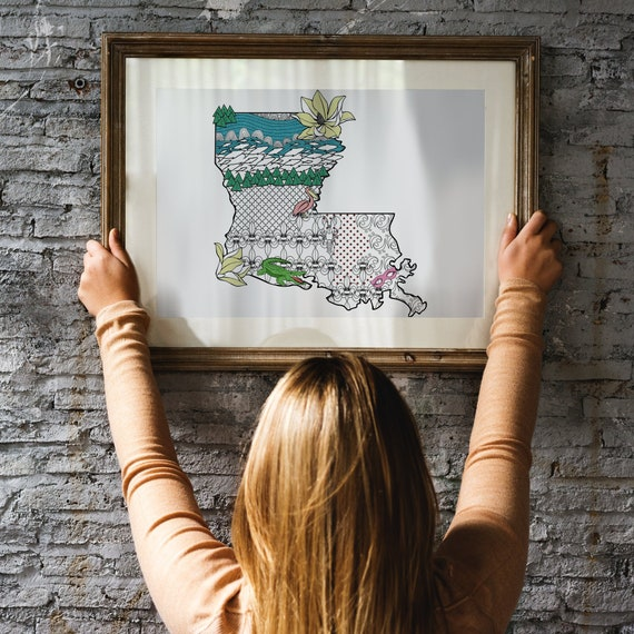 Louisiana Art Map Coloring Poster Etsy
