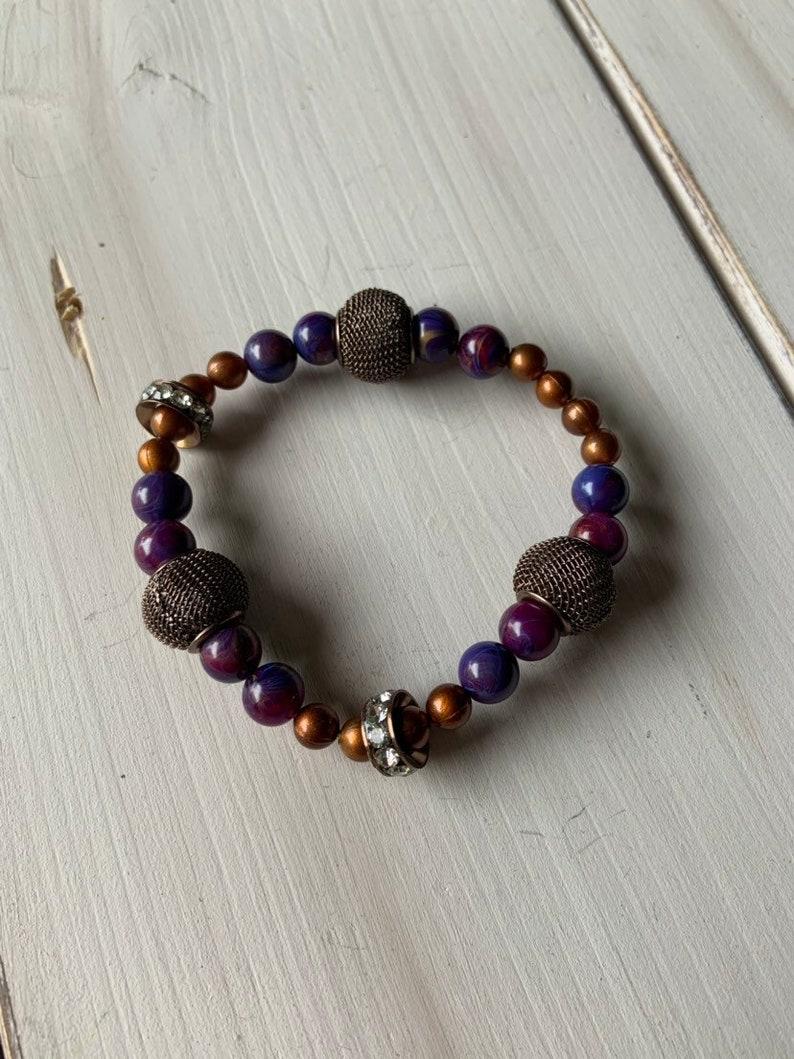 Purple and copper stretch bracelet
