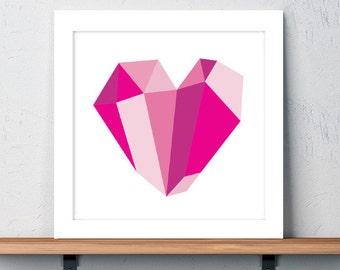 Love, Heart, Art, Print, Color, Magenta, Valentine, Crystal, Holiday Gift, Christmas Gift, Birthday Gift, Girlfriend Gift, Teen Room Decor