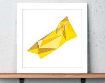 Lion, Leo, Astrology, Constellations, Zodiac, Art, Print, Yellow, Geometric, Holiday Gift, July Birthday, August Birthday, Men's Gift, color