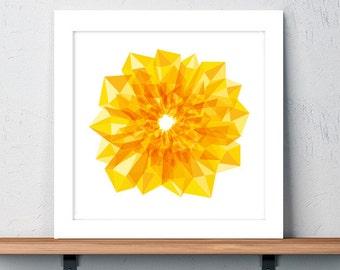 Sunflower, Art, Print, Yellow, Golden, Flower, Garden, Geometric, Crystals, Holiday Gift, Birthday Gift, Gift, Wall art