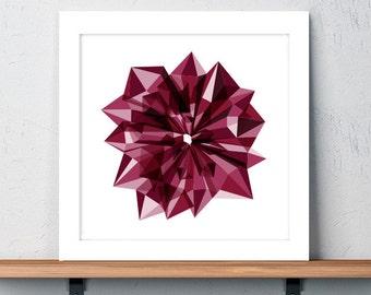 Rose, Art, Print, Flower, Geometric, Holiday Gift, Birthday Gift, Wall art