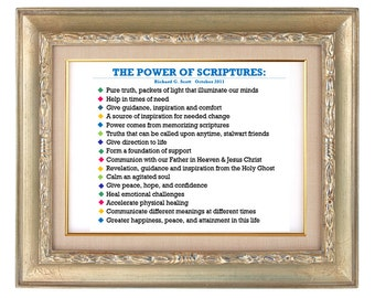 The Power of Scriptures Richard G Scott INSTANT DOWNLOAD Printable --handout, bookmark, reminder, LDS Book of Mormon