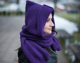 Hooded scarf 100% merino wool Unisex Christmas gift Xt2rw