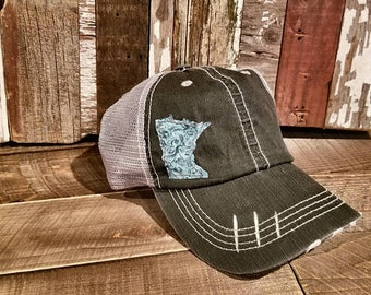 dfb7d9ba Distressed Minnesota Trucker Hat, Customize to any State, Buffalo Plaid,MN,  Ball Cap. State, USA, Flannel, Gift