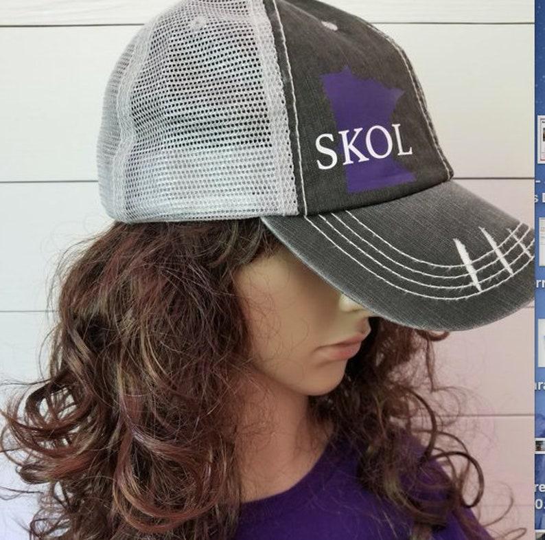 SKOL Vikings Minnesota Vikings Distressed Trucker Hat Purple  6eef338b22f