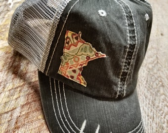 Distressed Minnesota Trucker Hat, Customize to any State, Buffalo Plaid,MN, Ball Cap. State, USA, Flannel, Gift