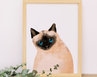 Cat Portrait 003, Poster Print, Watercolor Painting, Animal Illustration, Nursery Painting