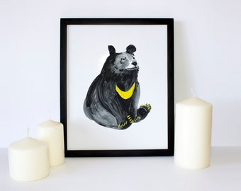 Moon Bear, Bear Series, Bear Gouache, Watercolor, Painting, illustration, Gift Ideas