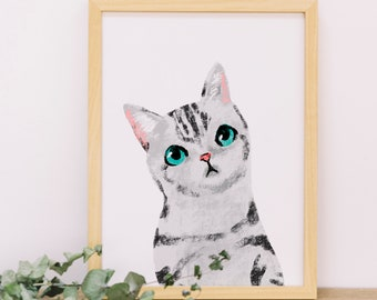 Cat Portrait 005, Poster Print, Watercolor Painting, Animal Illustration, Nursery Painting