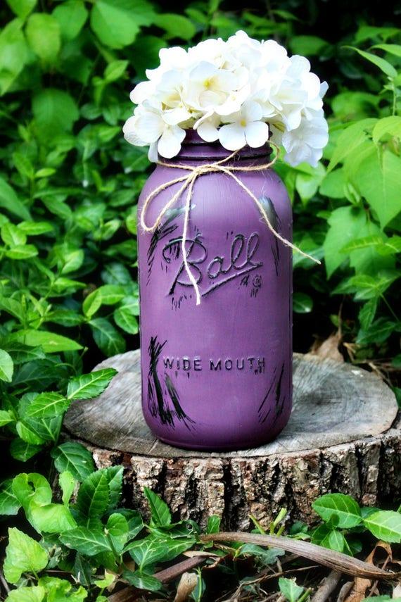 Demi-gallon peint et vieilli Vase pot Mason. Soliflore. Vase en verre. Arrangement floral. Pique fleur. Vase pot Mason. Vases rustiques.
