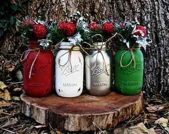 Set of 4 Quart-Size Christmas Mason Jar Decor. Painted Mason Jars. Christmas Decor. Christmas Centerpiece. Rustic Christmas Decor. Holidays