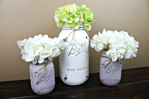 Mason Jar Vase Centerpiece Set Bud Vase Glass Vase Floral Etsy