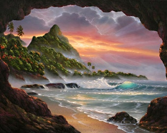 Kauai Secret Place - Canvas Giclee Reproduction - Bali Hai - Sea Cave - Bali Hai - Hanalei