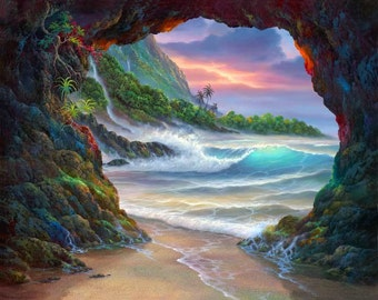 Kauai Sea Cave - Sunset - Balihai - Hanalei - Ocean
