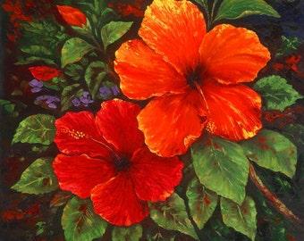 Robert Thomas Giclee -Vintage Hawaiian Red Hibiscus- Hawaii Floral Flowers