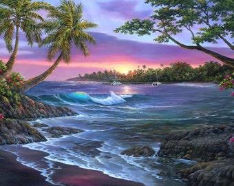Old Kona Bay Giclee- Hawaii Sunset - Big Island -Kailua Kona