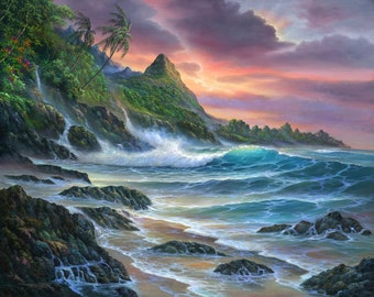 Colors Of Paradise - Kauai Seascape - Ocean Waves Sunset