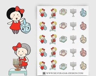 Ruby Hanukkah Stickers   Chanukah Stickers   Hanukkah Reminder   Erin Condren   personal planner   menorah stickers   GRL-041