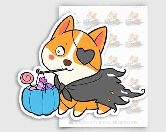 COR-037-A   Cooper Corgi Halloween Costume / Trick or Treat Planner Stickers