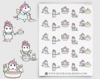 UNI-001   Luna Unicorn Kawaii Cleaning / Housework Planner Stickers