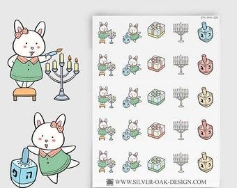 Bunny Hanukkah Stickers - Chanukah Stickers, Hanukkah Reminder, Erin Condren, personal planner, menorah stickers (BNY-039)