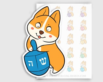 COR-030-A   Cooper Corgi Hanukkah / Chanukah Dreidel Planner Stickers