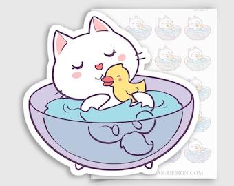 CAT-039-B   Bella Kitty Cat Kawaii Bath Time / Bathtub Planner Stickers