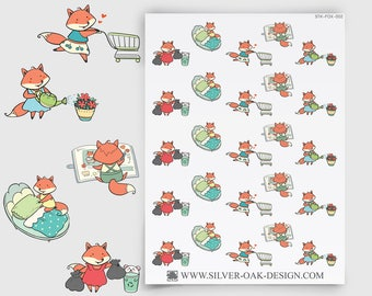 FOX-002   Fiona Fox House Cleaning Planner Stickers
