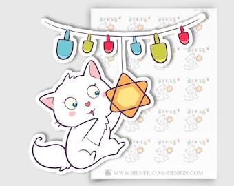 CAT-028-B   Bella Kitty Cat Hanukkah Chanukah Planner Stickers