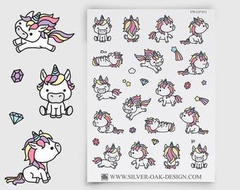 LLP-012   Cute Kawaii Unicorn Planner Stickers