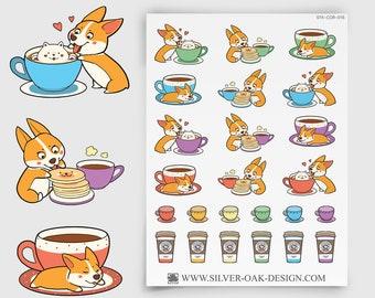 COR-016 | Cooper Corgi Coffee Planner Stickers