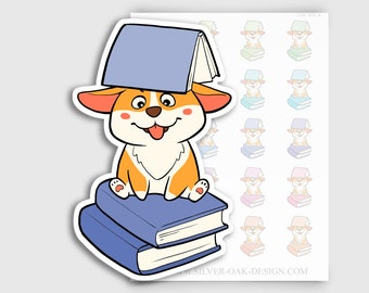 COR-005-A   Cooper Corgi Kawaii Reading Library Books Planner Stickers