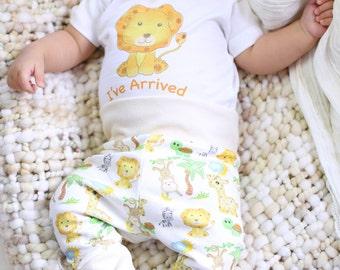 Organic Baby Boy Clothes, Organic Handmade Set, Friendly Lion Safari, Baby Boy Set,  I've Arrived, Lion Baby Clothing, Lion Legging